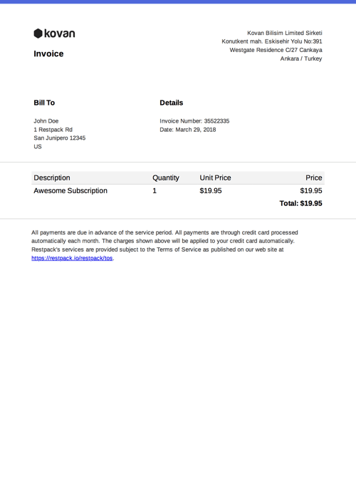 HTML to PDF invoice example